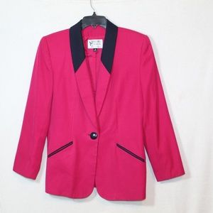 Vintage 80s structured power blazer hot pink